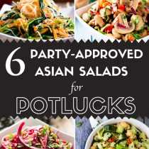 6 Party-Approved Asian Salad Recipes for Potlucks-spinach glass noodle salad, spiralized zucchini and beet salad with garlic, marinated mushrooms with lime, and Celery Cucumber Chickpea Salad in on image