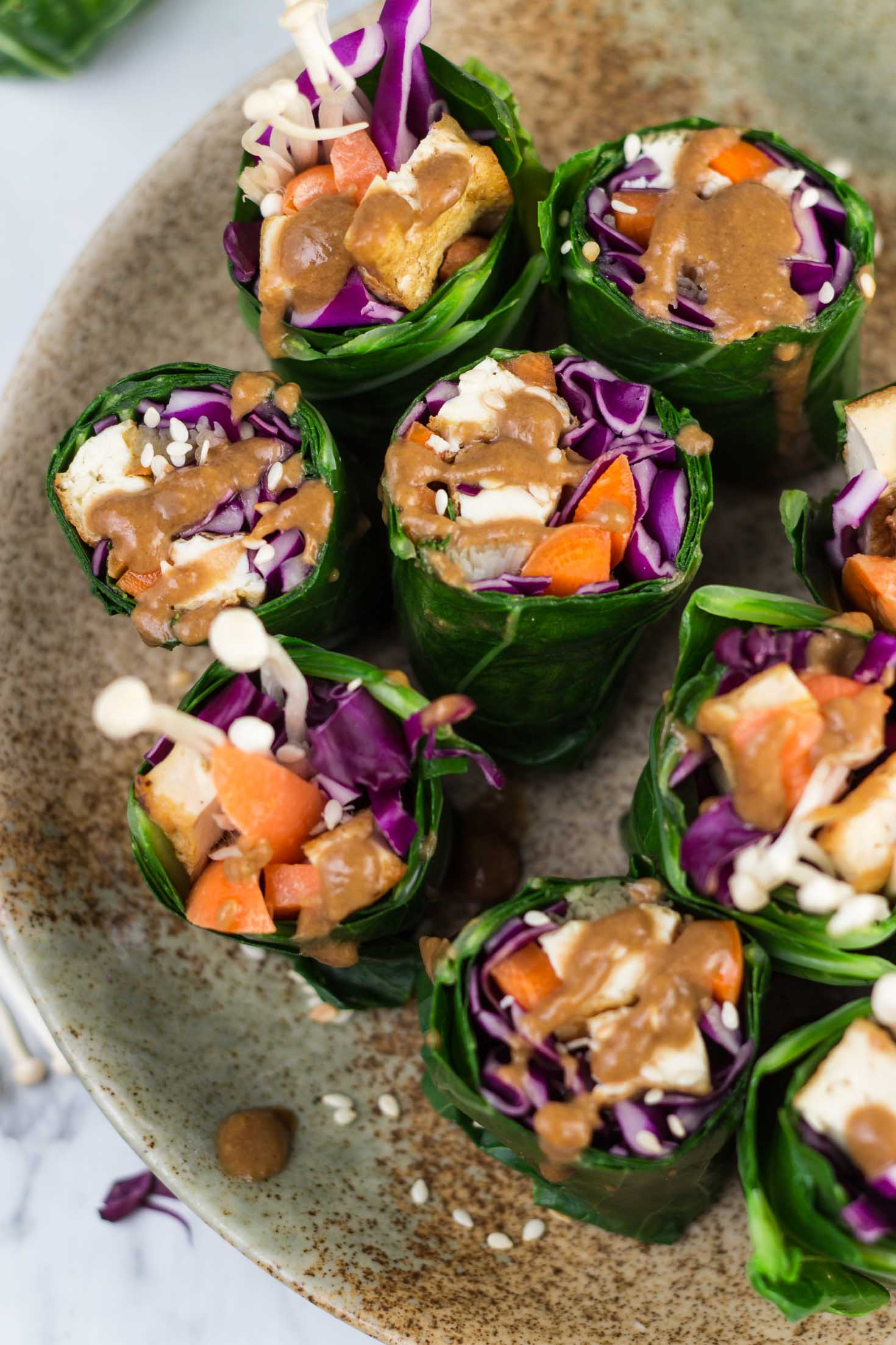 Grain-free Collard Green Rolls with Roasted Tofu and Enoki Mushrooms-close up top view