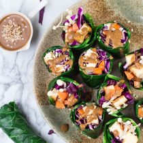 Grain-free Collard Green Rolls with Roasted Tofu and Enoki Mushrooms-top view-small square image