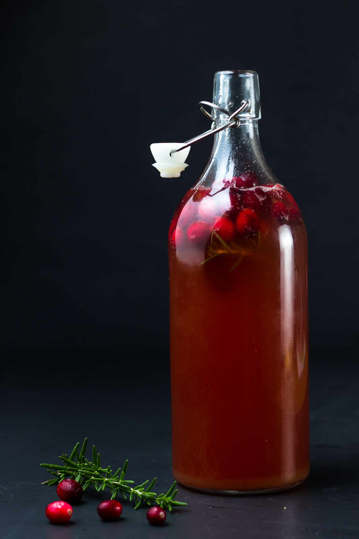 Sparkling Cranberry Rosemary Kefir Punch-in a bottle