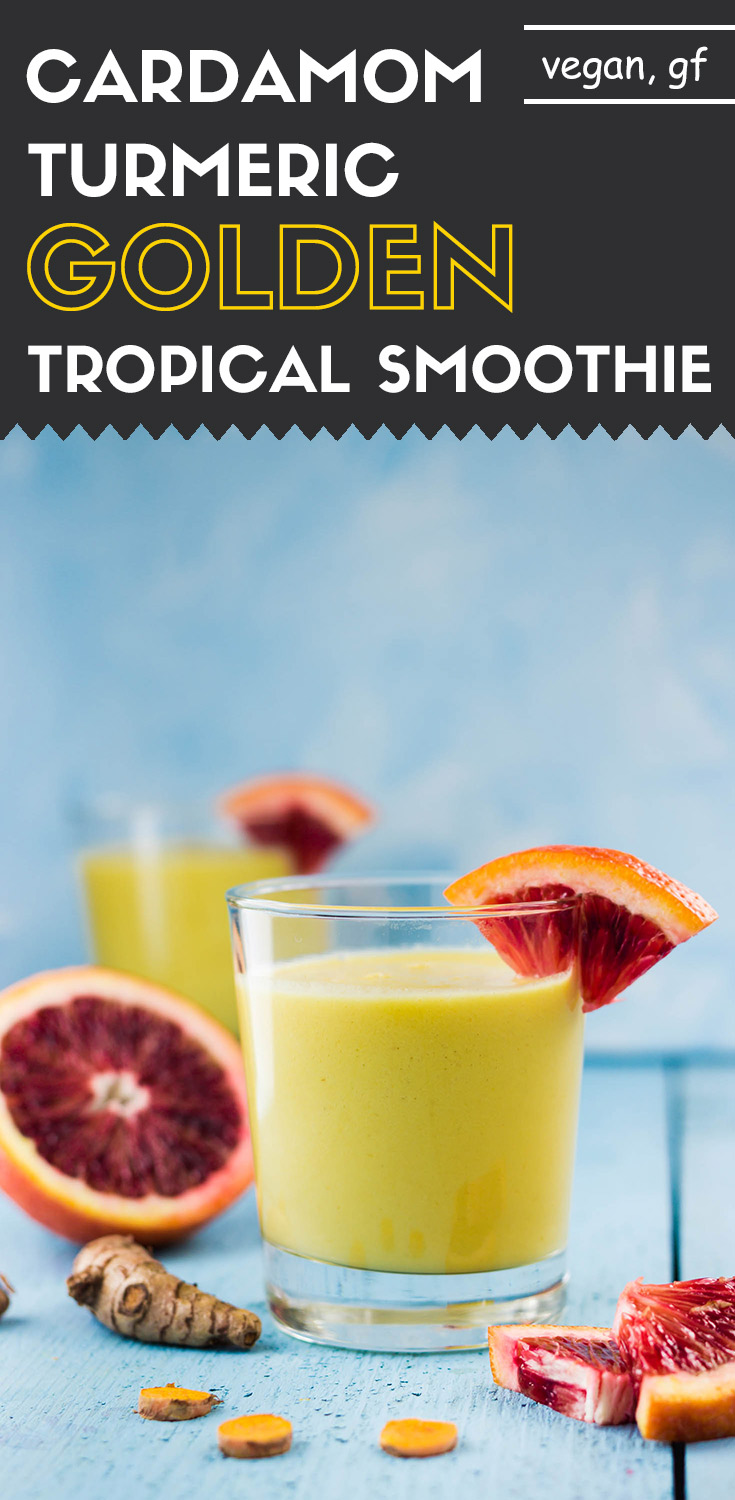 Cardamom Turmeric Spiced Golden Tropical Smoothie-sideview in a glass with blood orange garnish-long image for Pinterest