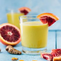 Cardamom Turmeric Spiced Golden Tropical Smoothie-small square images for social media shares