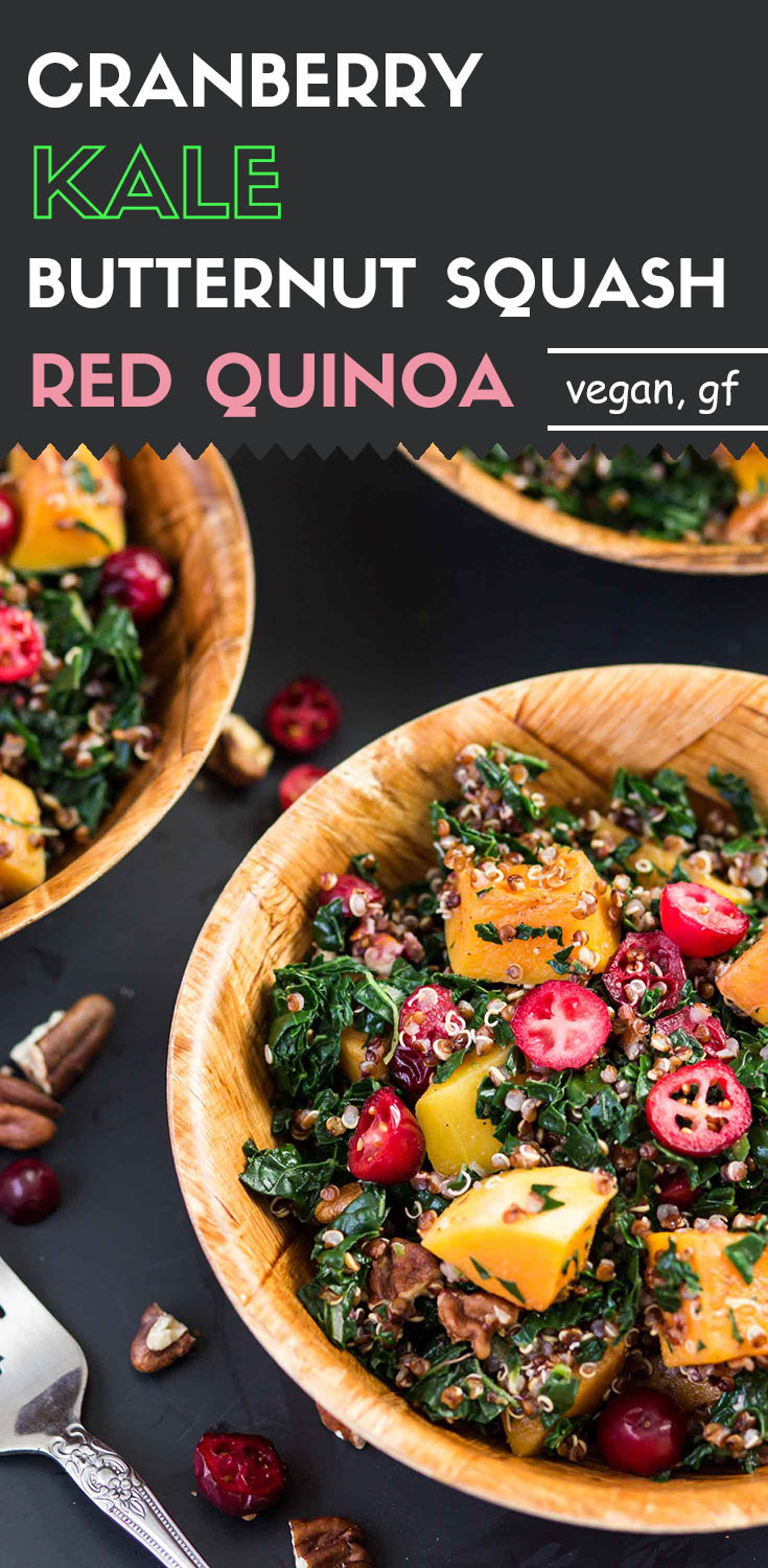 Cranberry, Kale and Roasted Butternut Squash Red Quinoa-Who can refuse the vibrant color and tangy-sweet flavor? Fill your bowl with this healthy, in-season cranberry, kale and roasted butternut squash red quinoa.