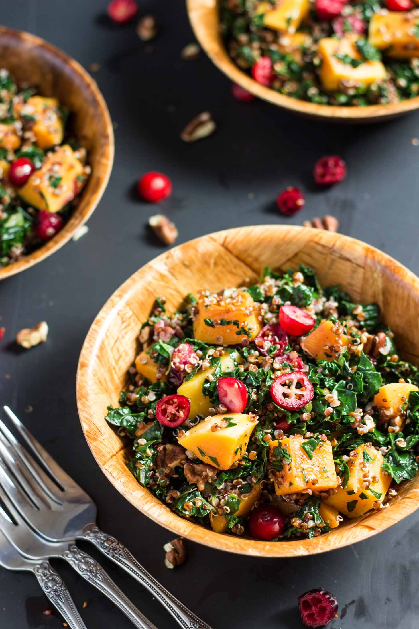 Cranberry, Kale and Roasted Butternut Squash Red Quinoa-top view with three salad bowls