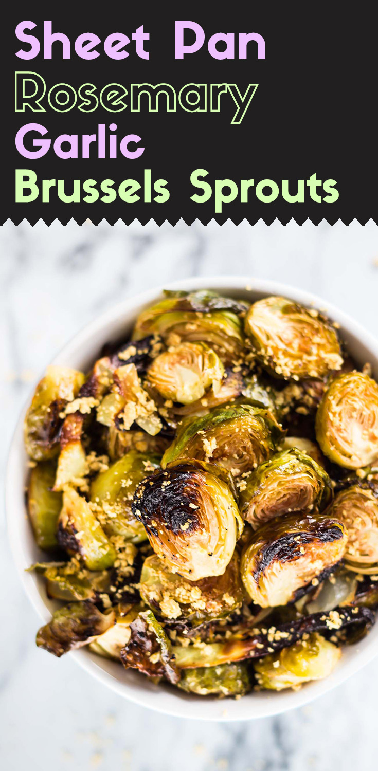 Sheet Pan Rosemary Garlic Brussels Sprouts-top view-roasted brussels sprouts in a bowl-garnished with vegan cheese