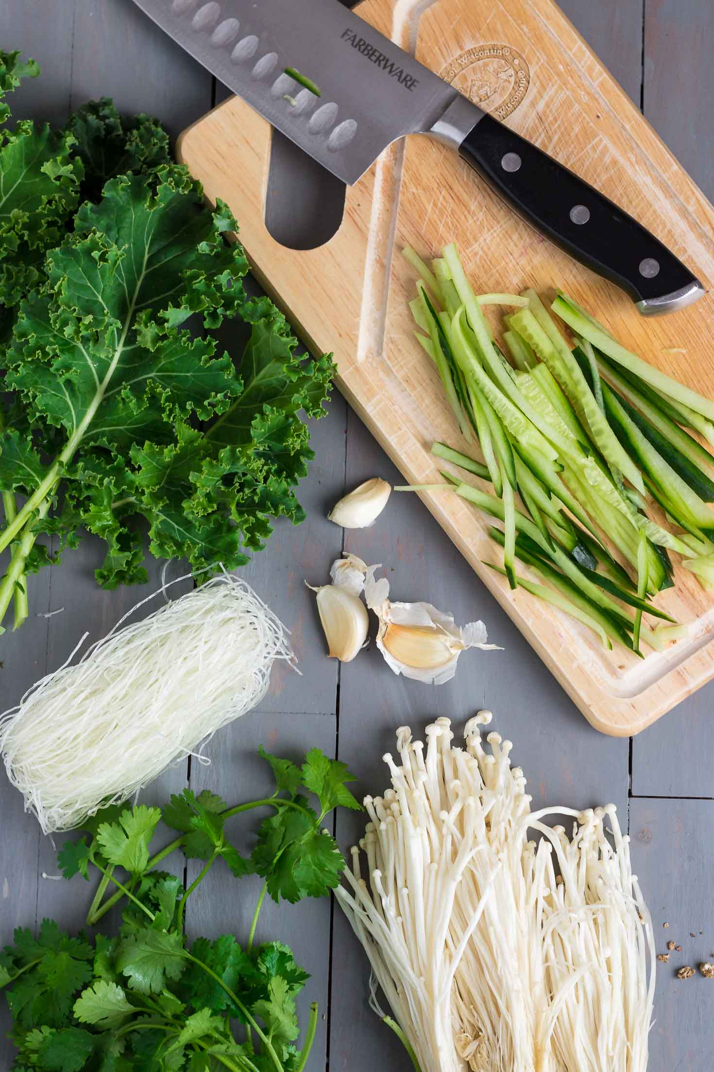 Chive Oil Glass Noodle Kale Salad-topview ingredients-cilantro, enoki mushrooms, cucumber, kale, dehydrated glass noodles