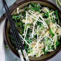 Chive Oil Glass Noodle Kale Salad-small square image-topview in a blow with chopsticks