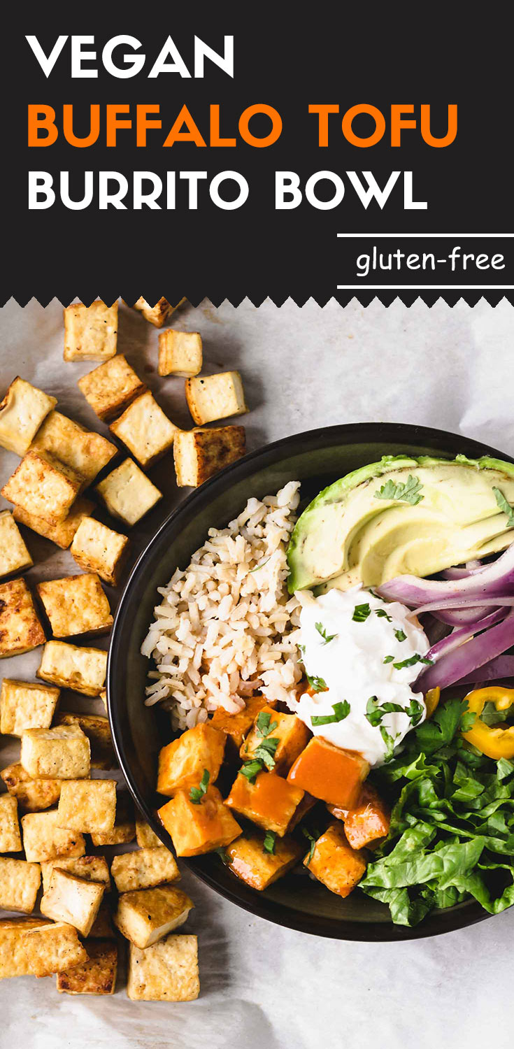 This vegan buffalo tofu burrito bowl is comprised of tangy and crispy roasted tofu, veggies, and brown rice.  It's the best choice for a healthier, easy-to-make, whole-grain, and gluten-free lunch bowl that you can take to work or on a road trip. (#wholegrain #vegan #tofu #glutenfree #veganburritobowl #glutenfreebowl #plantbased #glutenfreevegan #plantpowered #meatlessMonday)