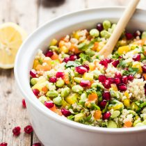 30-Minute Pomegranate Edamame Quinoa Salad-small square image