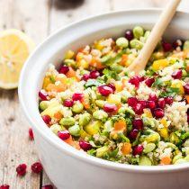 30-Minute Pomegranate Edamame Quinoa Salad-small square image