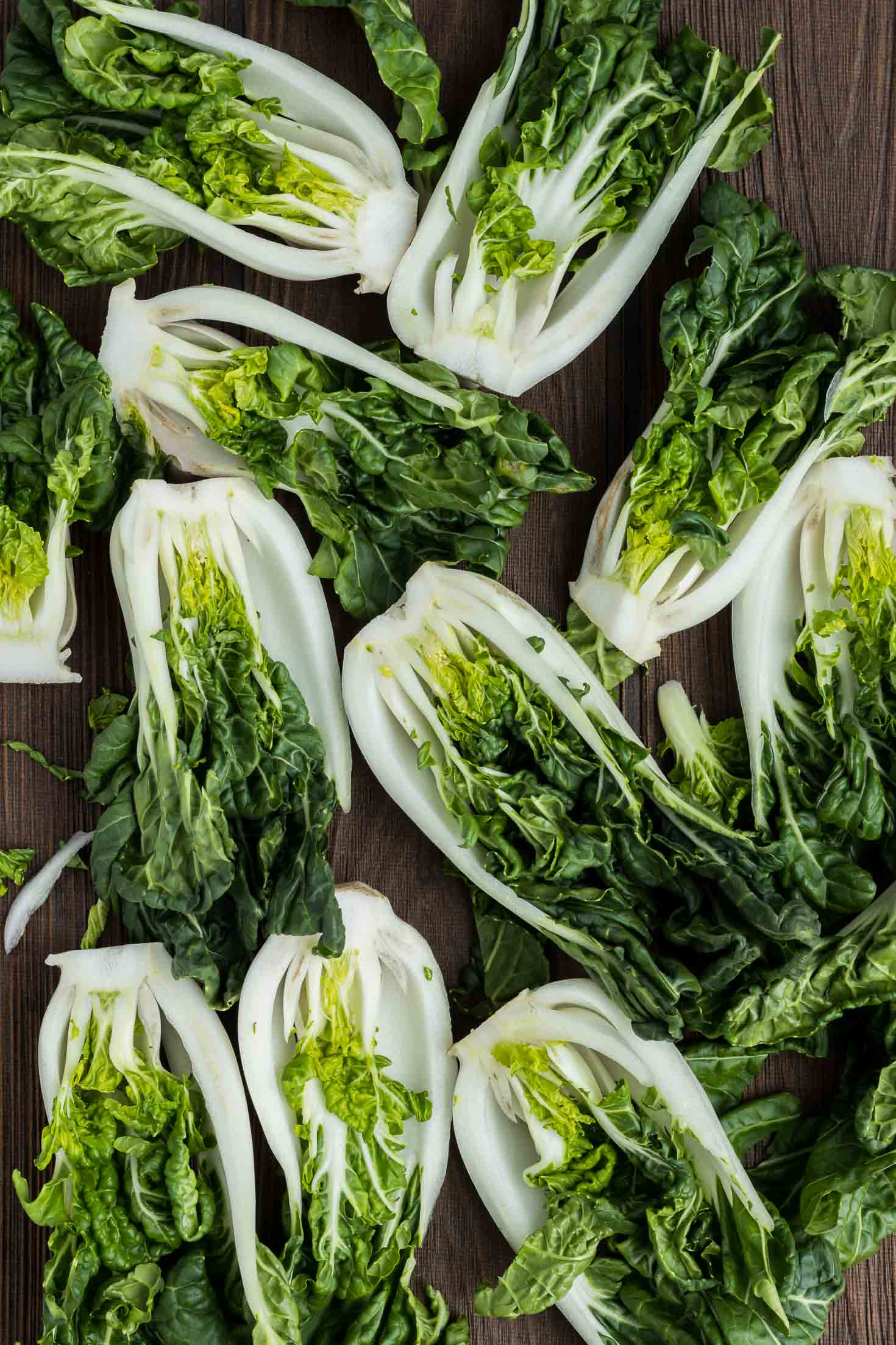 Ginger Miso Bok Choy Stir-Fry-top view-cut bok choy lengthwise
