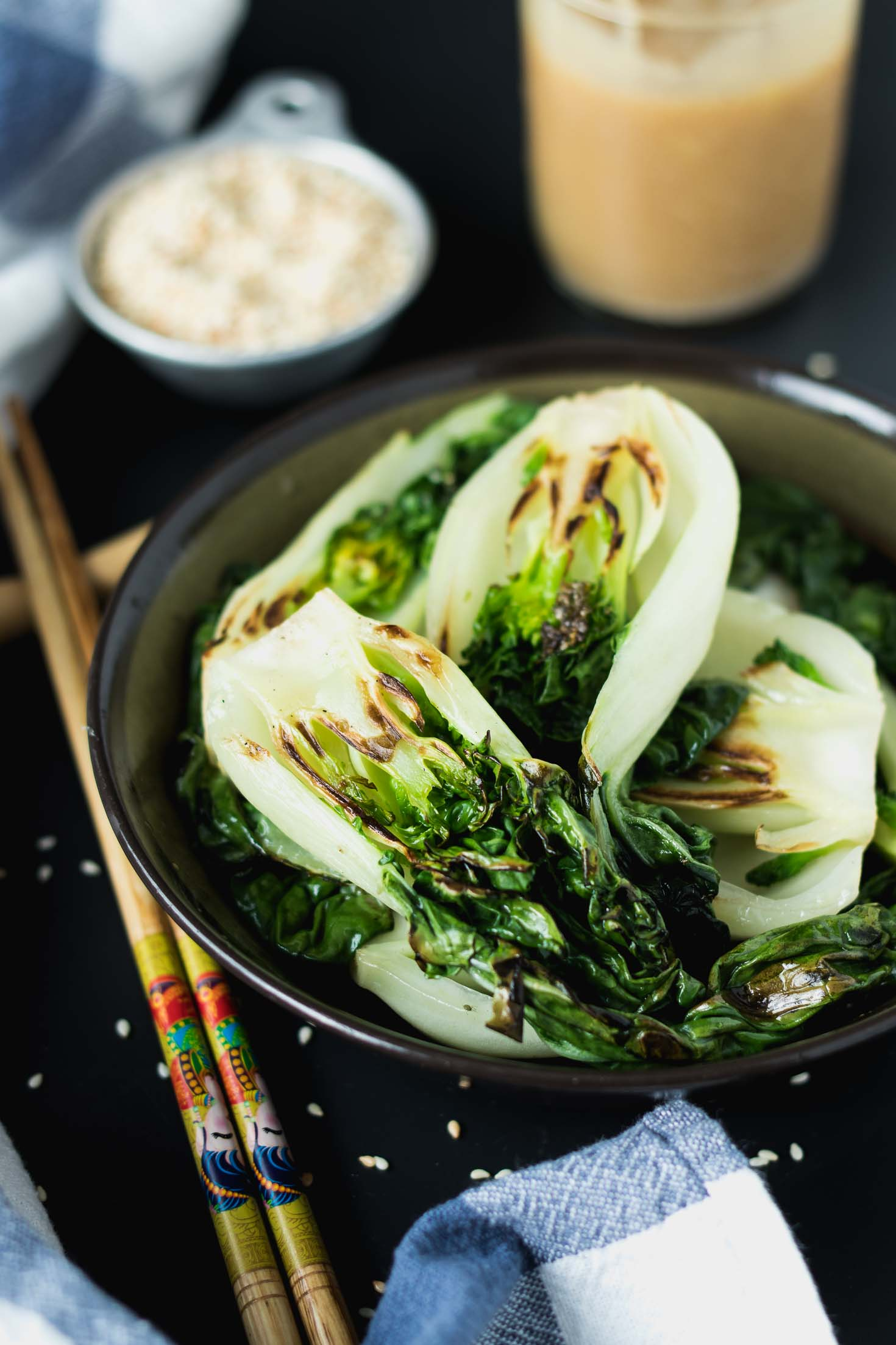 Ginger Miso Bok Choy Stir-Fry-top view-in a bowl without sauce