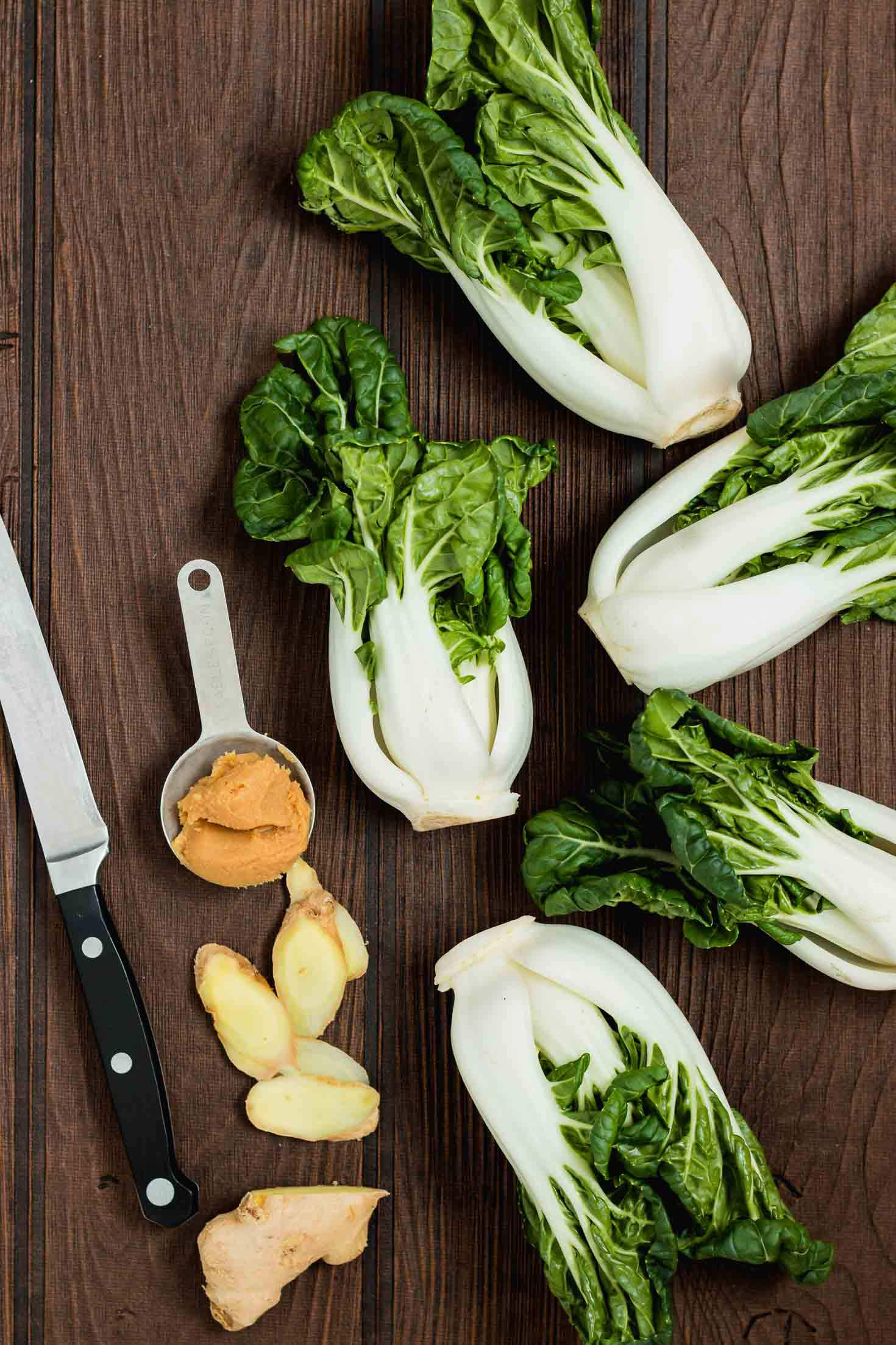 Ginger Miso Bok Choy Stir-Fry-top view-ingredients-bok chow-ginger-miso paste