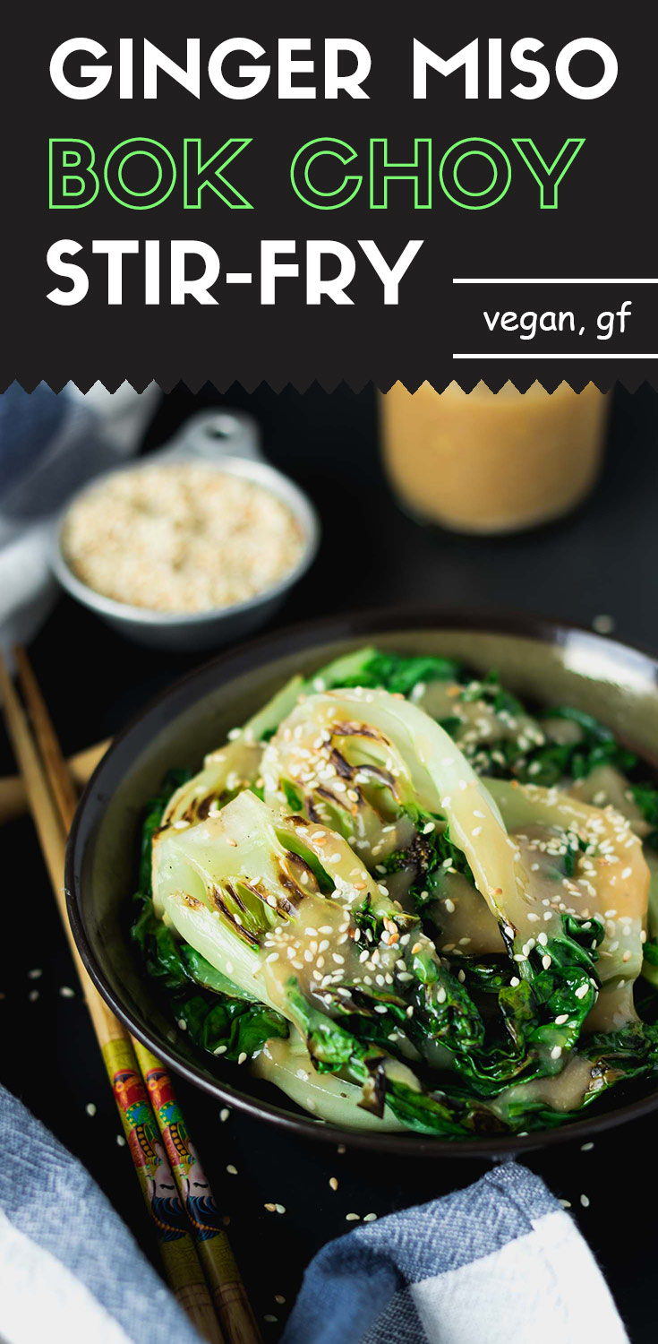 Ginger Miso Bok Choy Stir-Fry-Bok choy stir-front view-in a brown bowl