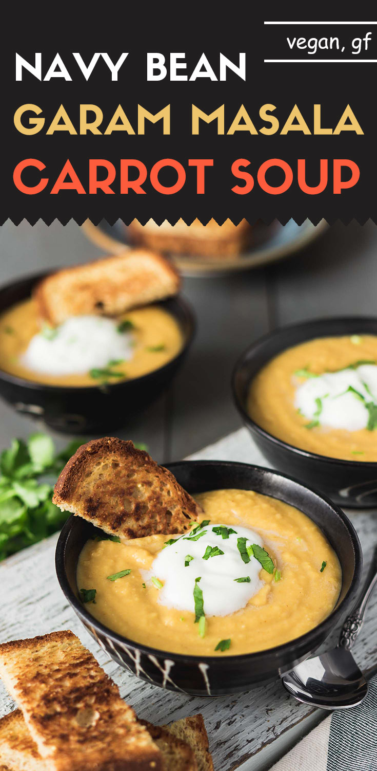 Navy Bean Garam Masala Carrot Soup-In less than 30 minutes, you can have this toasty warm, homemade navy bean garam masala carrot soup ready. With a touch of spiciness, it's the ultimate winter soup.