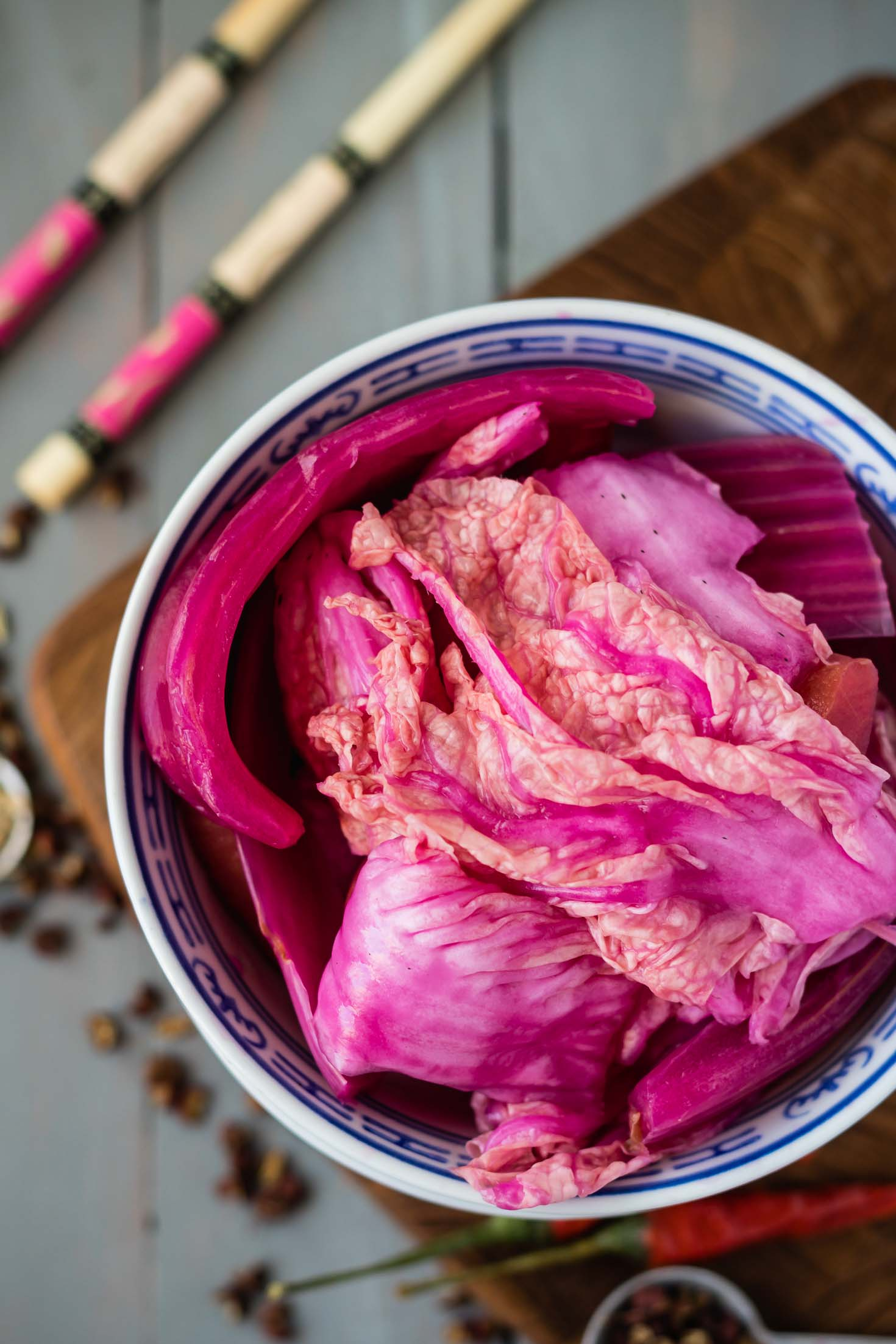Sichuan Style Fermented Vegetables-top view-pink napa cabbage, carrots, celery-in a bowl