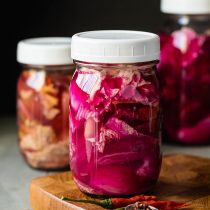 Sichuan Style Fermented Vegetables-side view-small square image-in a canning jar