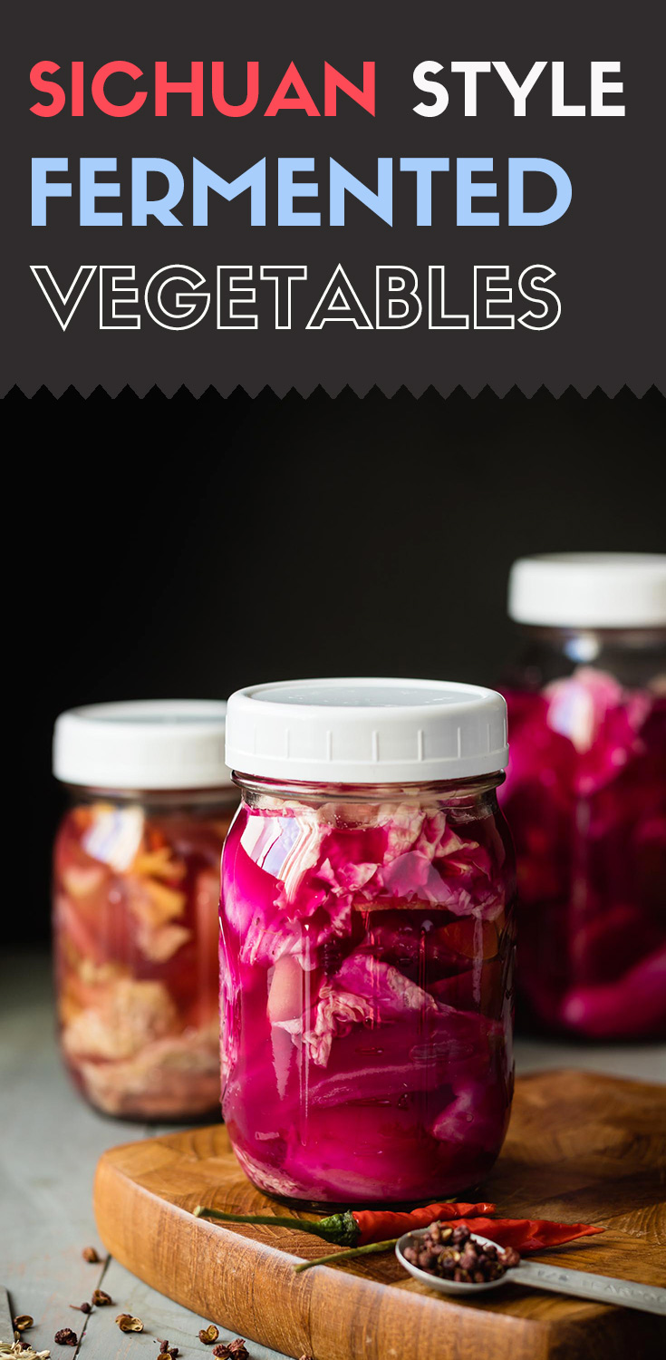 These homemade Sichuan style fermented vegetables are crunchy, with a bracing sour tang.  Beyond tasting good, they contain live bacteria that you won't often find in store-bought pickled vegetables.(#Vegan #Glutenfree #HomemadeProbiotics #Fermentation #Guthealth #Probiotics #LiveCultures)