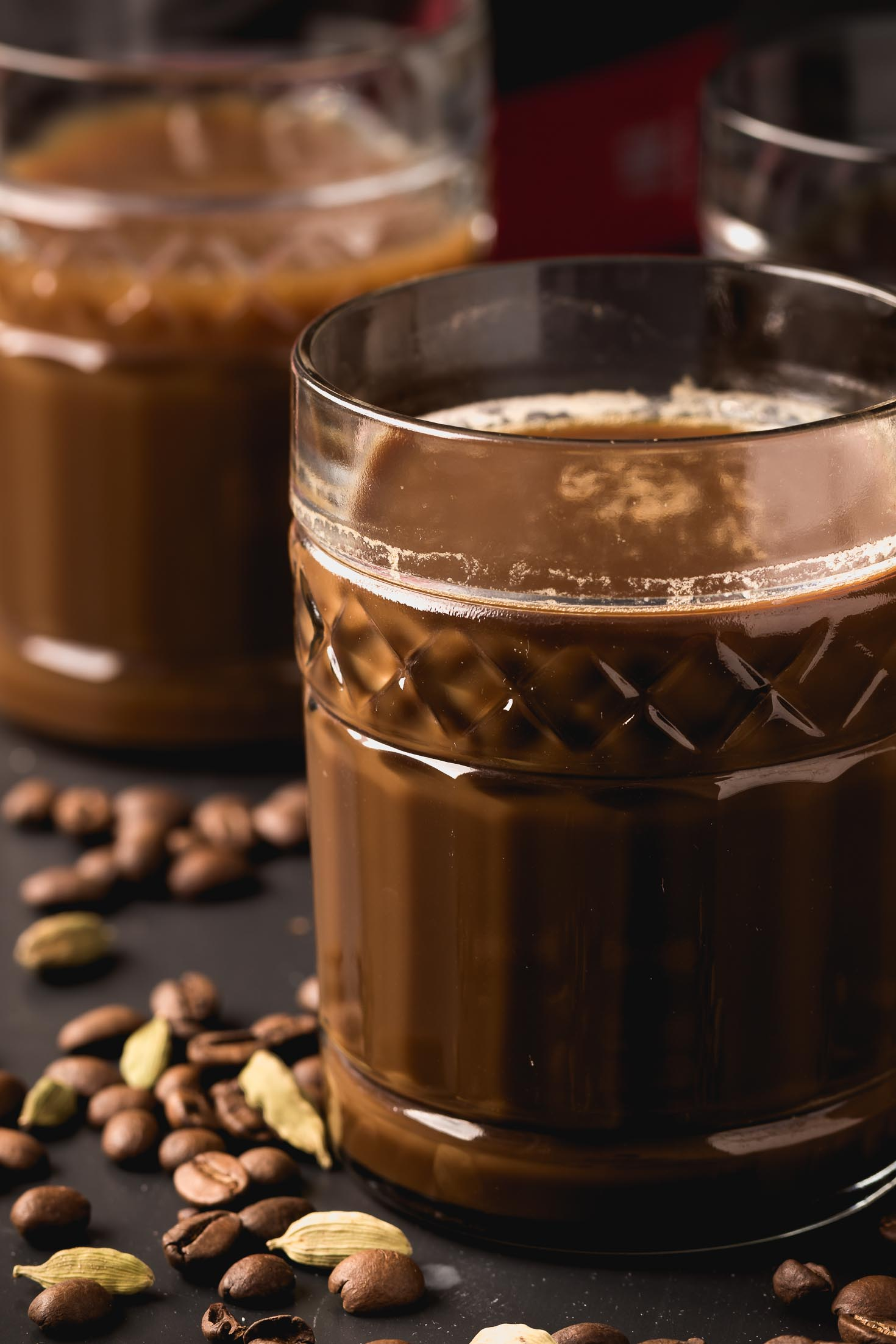 Cardamom Cold-Brewed Coffee-side view in a glass