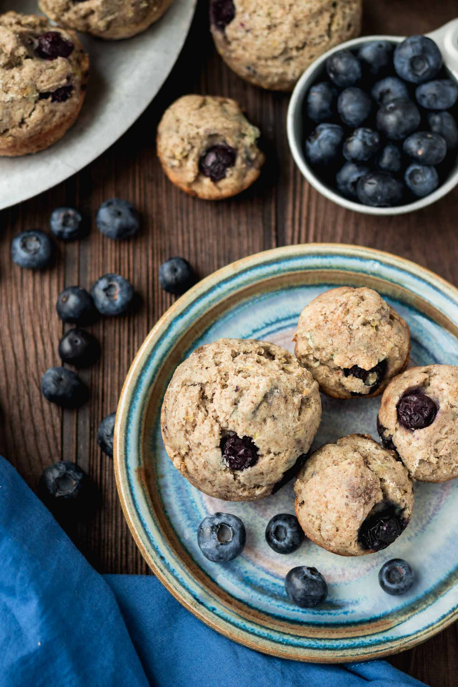 Zesty Ginger Blueberry Muffins-topview-muffins with blueberries