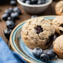 Zesty Ginger Blueberry Muffins-small square image-blueberry muffins with fresh blueberries on a plate