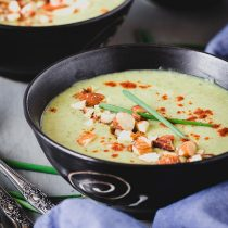 Brown Rice Cream of Broccoli Soup-closeup view-small square image