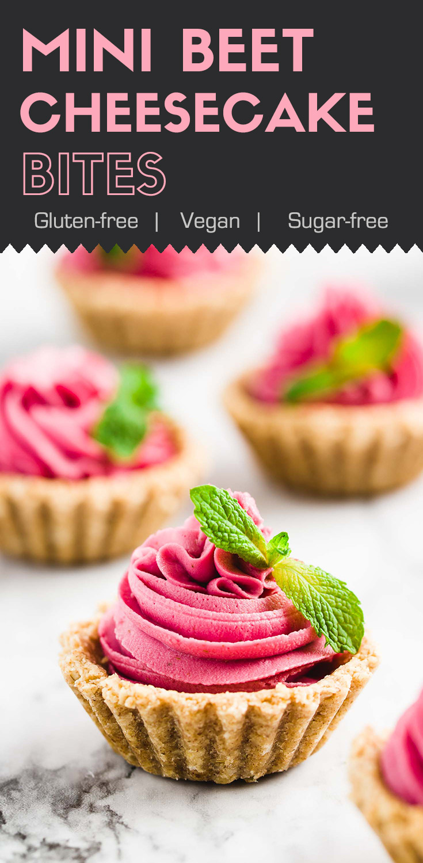 Mini Beet Cheesecake Bites-front view-pink mini cheesecake bites garnished with mint