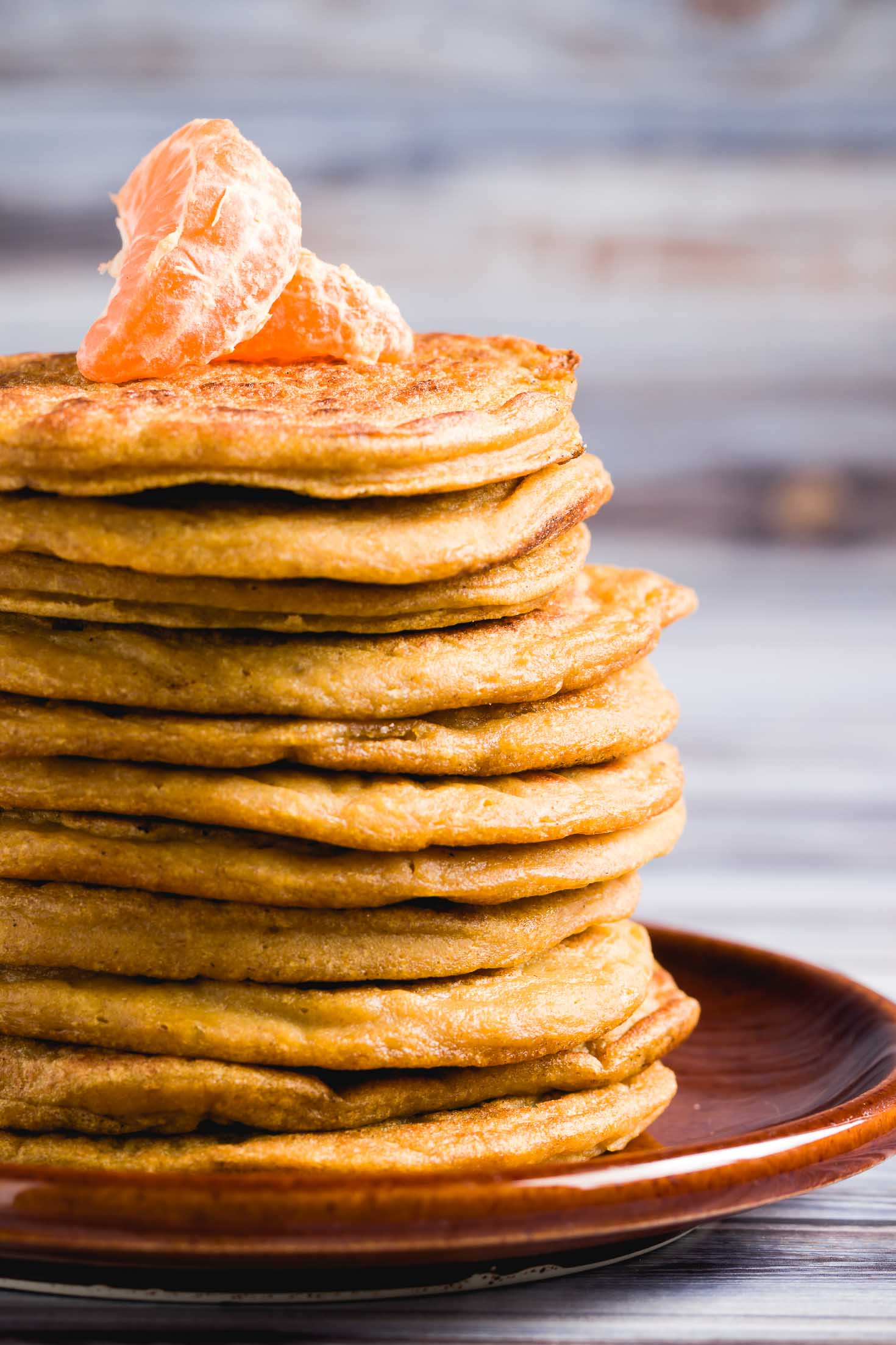 Gluten-Free Ginger Orange Pancakes-front view-closeup of stacked pancakes