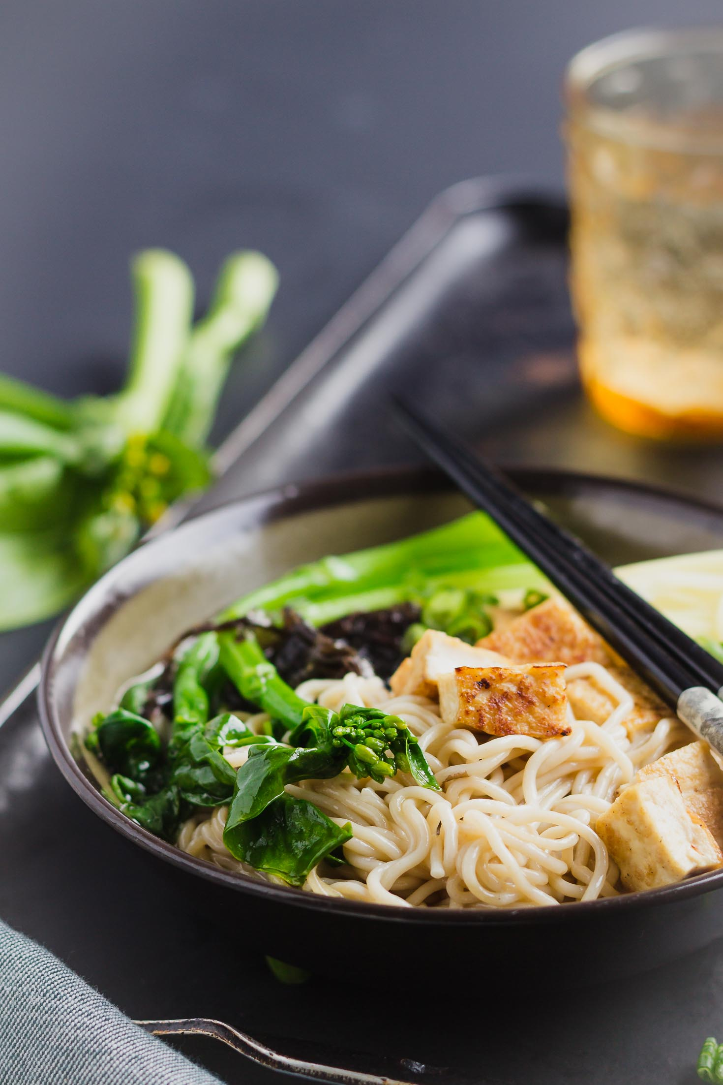 One-Pot Miso Tofu Gluten-free Ramen-front view-in a bowl with green vegetables