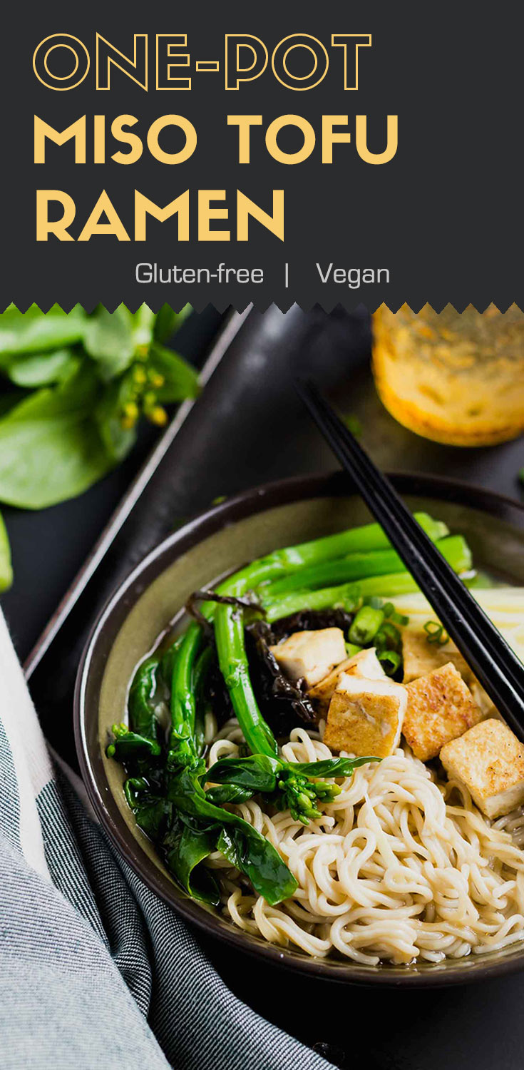 One-Pot Miso Tofu Gluten-free Ramen-top-side view-noodles in a brown bowl, garnished with green bok choy and roasted tofu