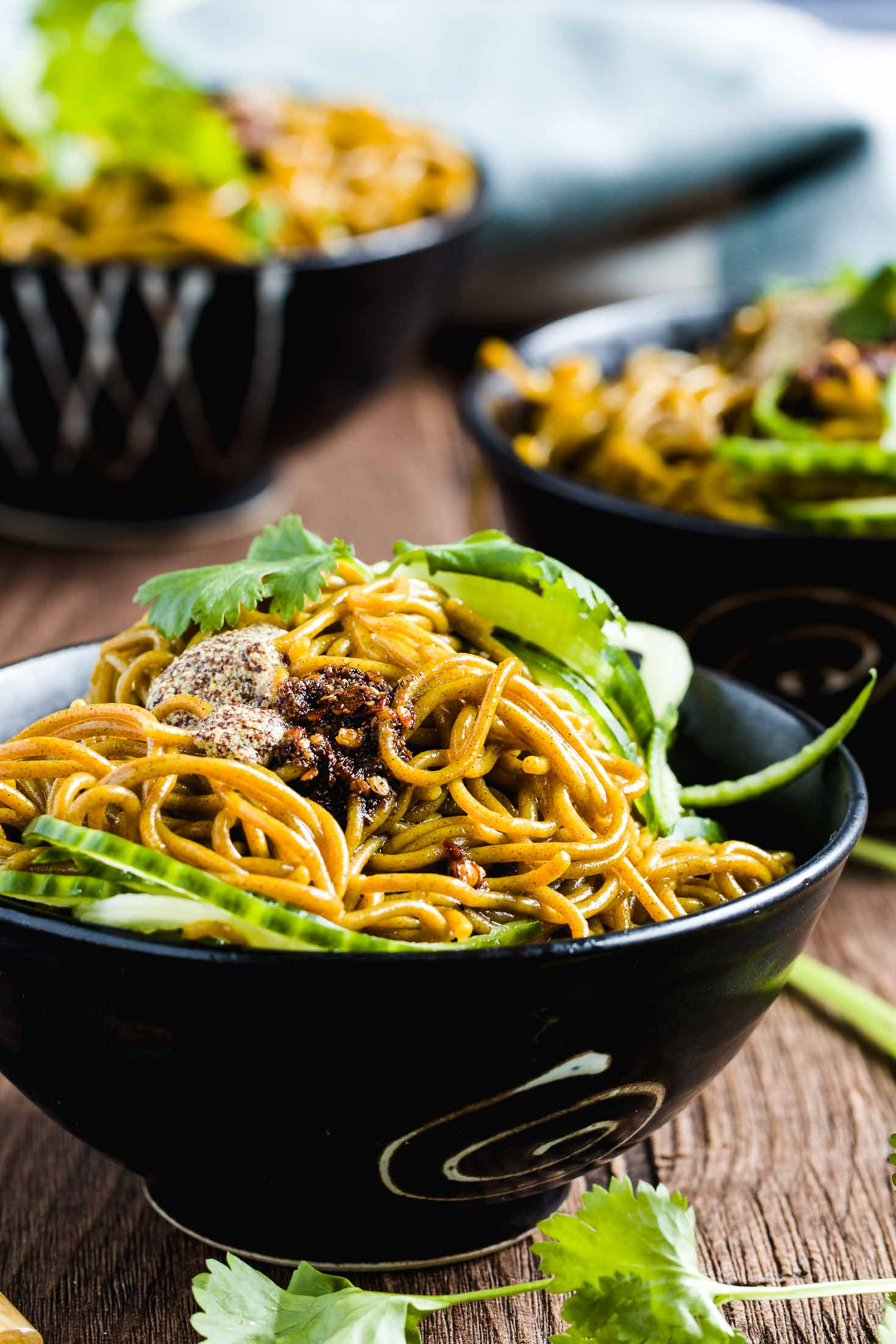 Mustard Past Buckwheat Noodle Salad-in three bowls-side view
