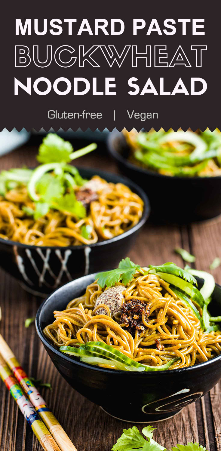 Mustard Past Buckwheat Noodle Salad-This mustard paste buckwheat noodle salad is a popular dish in the northwest region of China. The freshly made mustard paste and homemade chili oil adds pungent tastes to the salad. It's one of my favorite salad recipes for summer. (#Vegan #Glutenfree #nixtamalization #buckwheat)