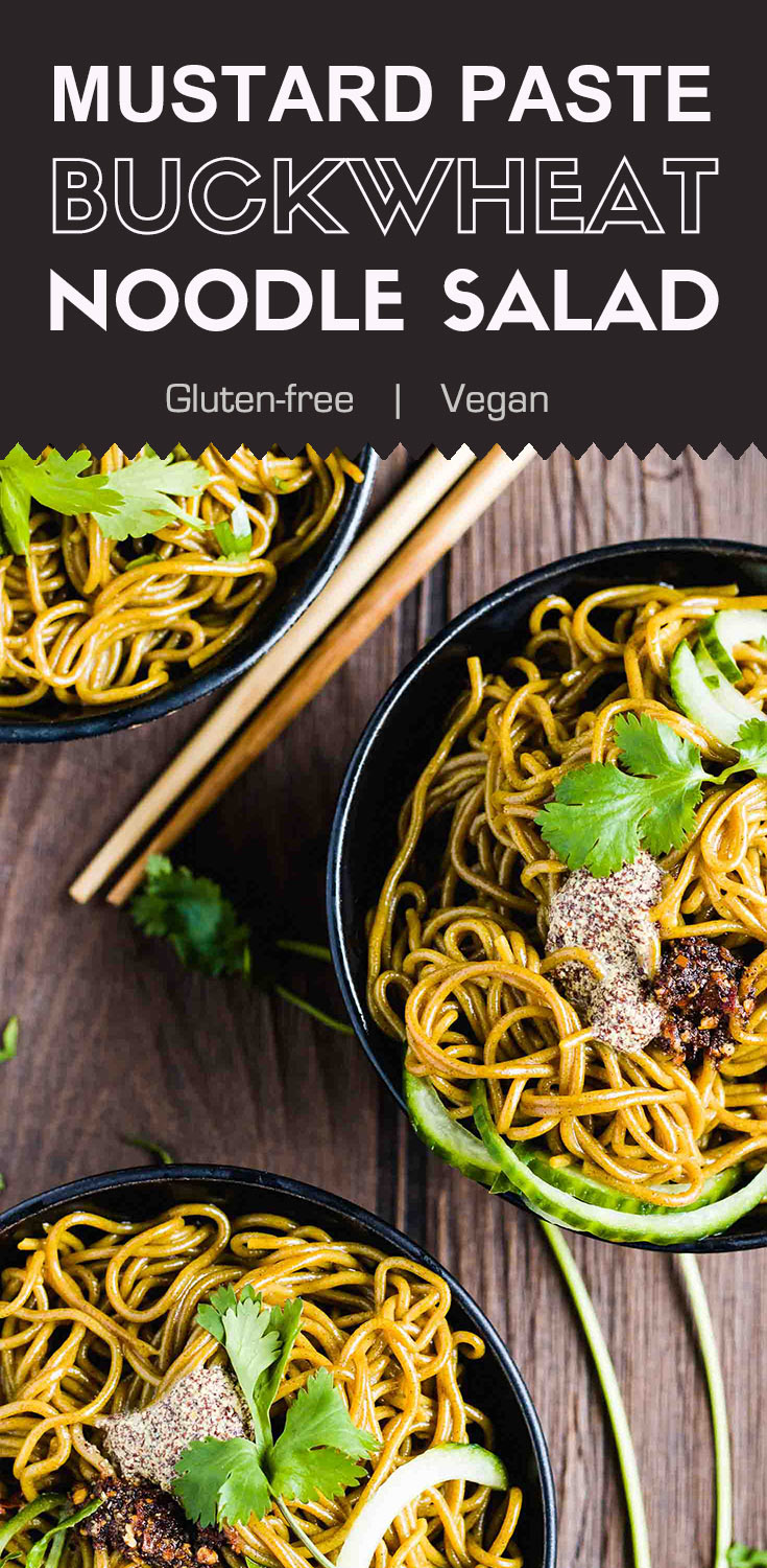 Mustard Paste Buckwheat Noodle Salad-This mustard paste buckwheat noodle salad is a popular dish in the northwest region of China. The freshly made mustard paste and homemade chili oil adds pungent tastes to the salad. It's one of my favorite salad recipes for summer. (#Vegan #Glutenfree #nixtamalization #buckwheat)