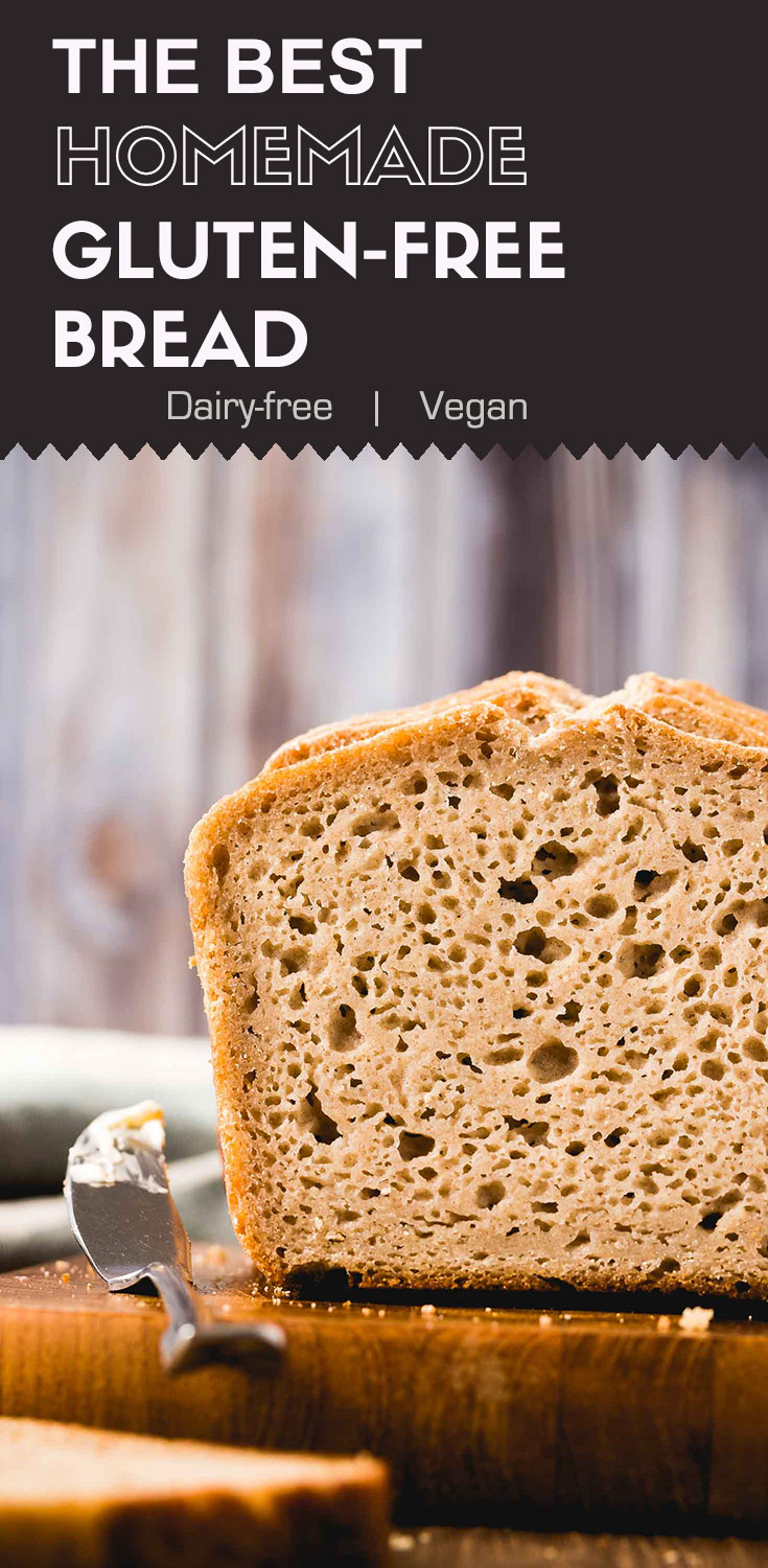 The Best Homemade Gluten-free Bread-This loaf of homemade gluten-free bread is made from my homemade sourdough starter. It's soft, puffy, and moist. It's healthier and tastes much better than the store-bought ones. (#vegan #gluten-free #sourdoughstarter #glutenfreebread)