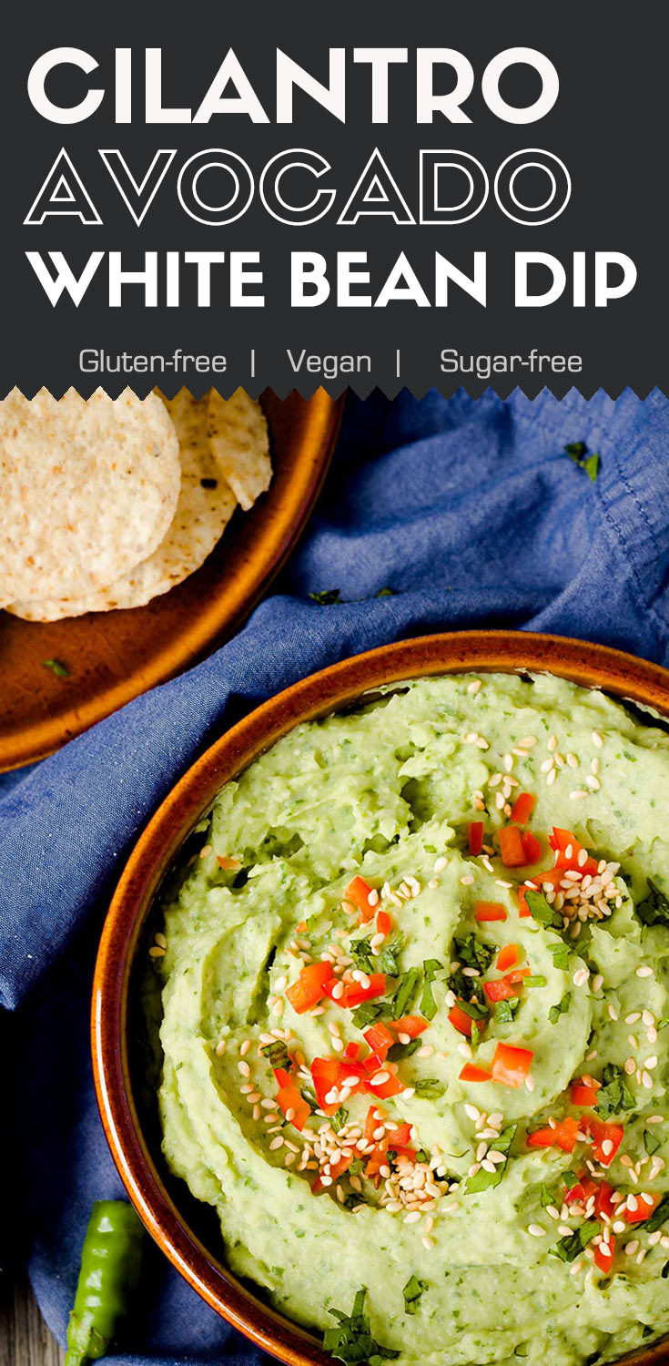 This cilantro avocado white bean dip can be made in less than 10 minutes.  It's pungent, lemony, and creamy.(#Vegan #BeanDip #GlutenFreeDip #OilFree #HealthyDip #NavyBeanDip)