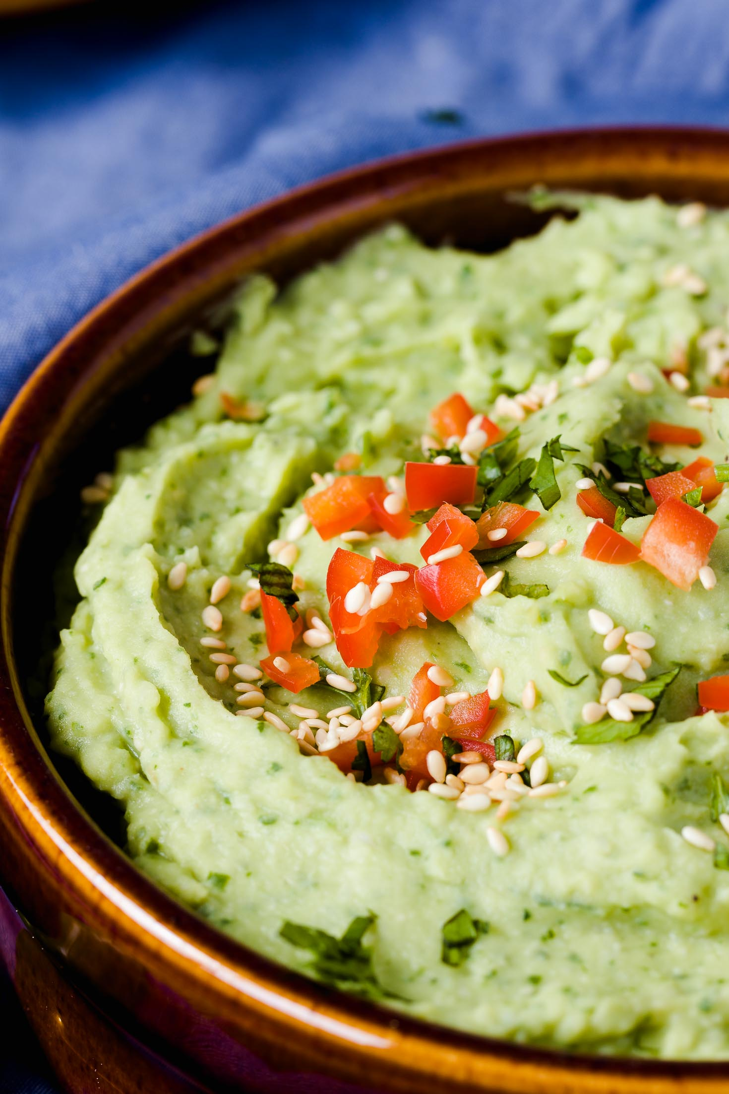 Cilantro Avocado White Bean Dip-closeup view-showing the texture of the dip