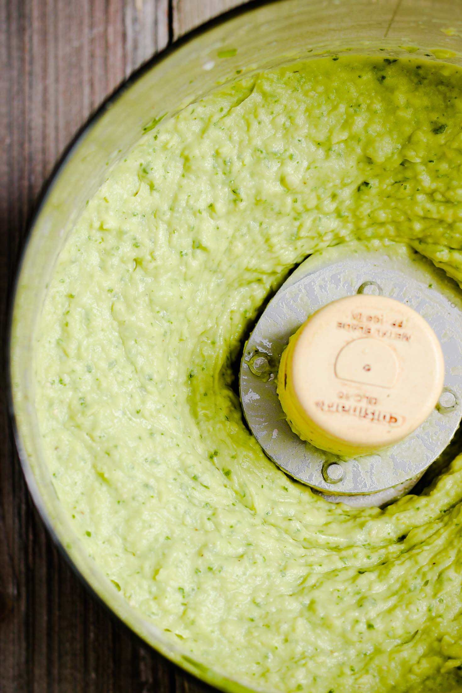 Cilantro Avocado White Bean Dip-top view-blended dip in a food processor