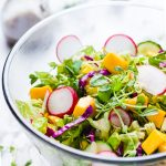 Pea Shoots Mango Rainbow Salad-in a glass serving bowl-small square image