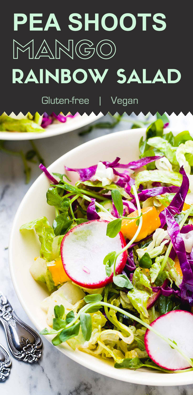 Pea Shoots Mango Rainbow Salad-top view in a yellow serving bowl-graphic with recipe title