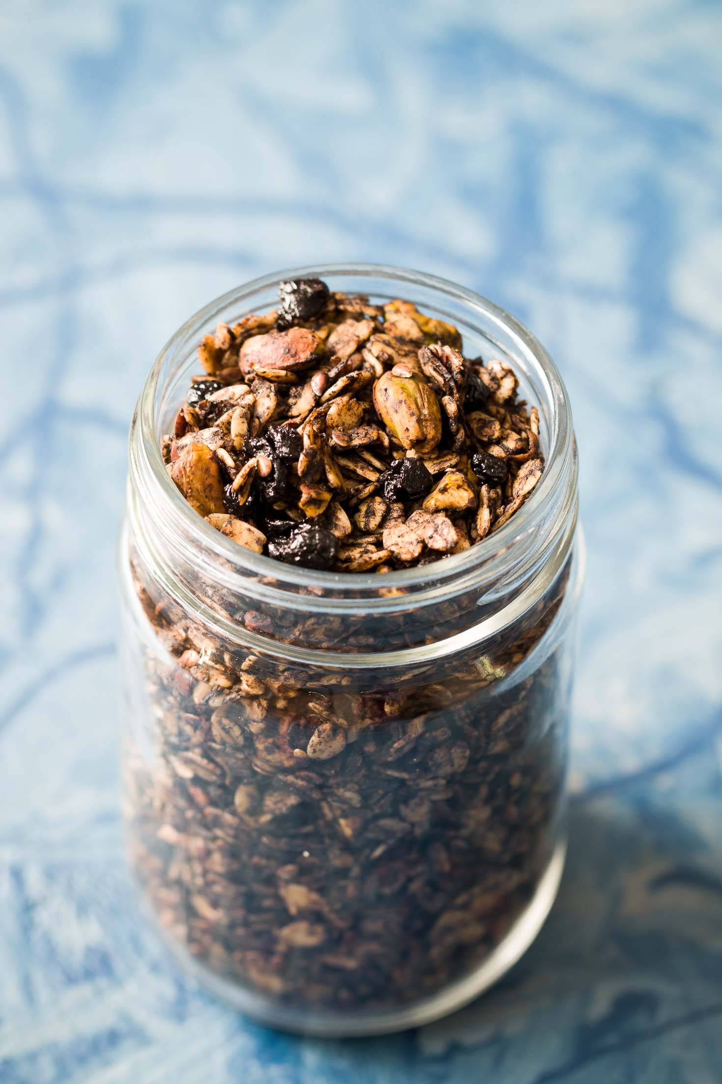 Pistachio Chocolate Granola-front-top view-granola in a glass jar