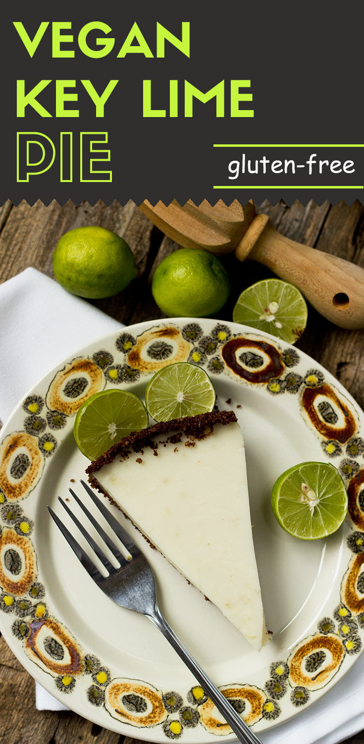 Gluten-free Vegan Key Lime Pie-flat lay top view-a slice of key lime pie and a fork are on a plate