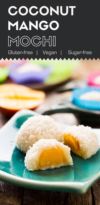Sugar-free Coconut Mango Mochi-mochi in a green plate and showing mango filling inside